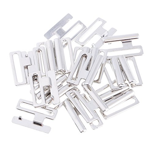 D DOLITY Metall Bikini Stecker Vorne Schnalle Bademoden DIY 10Paare - Silber, 19 mm