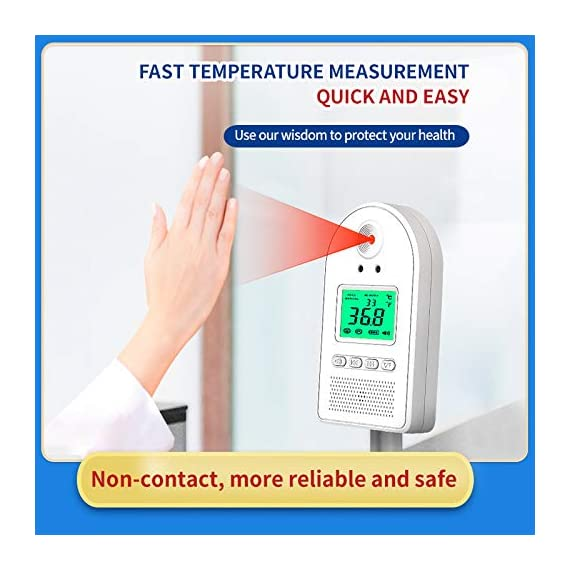 Wall-Mounted Thermometer for Adults, Non Contact Thermometer, in Door Body Digital Thermometer Hand Free Forehead Thermometer for Offices, Factories, Shops, Schools, Restaurants 12 EASY TO USE: The forehead thermometer accurately measures a person?s body temperature in as little as one second. A reading is taken as soon as an individual?s forehead is detected within 2-4 inches of the thermometer?s sensor. A green light will indicate that their temperature is within a normal range, and a flashing red light. NON-CONTACT HAND FREE MEASURING:: Using a new chip, the induction time is faster, the induction time is 0.1 s; the temperature measurement accuracy is high, and the accuracy tolerance is ±0.18°F. The test temperature passing rate per minute is greatly improved. Can detect 50 people in 1 minute at the fastest. EASY INSTALLATION: Our Wall Mounted Infrared Thermometer is very easy to mount on the wall using nails, hooks, double-sided adhesive tape, or brackets, and can be connected to a wall charger, power bank, or any other portable power source.