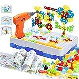 MOOKLIN ROAM 237pcs Mosaico Puzzle con Rejilla y Taladro Eléctrico, Puzzles 3D Montessori Bloques Juguetes de Construcción Caja de Herramientas Juegos Creativos y Manualidades Regalos para Niños 3+