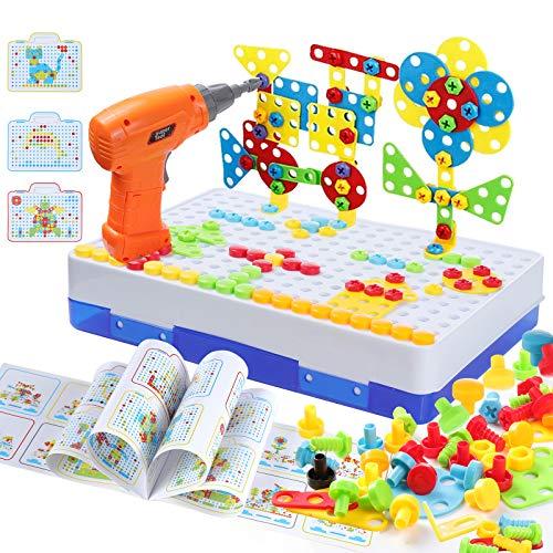 MOOKLIN ROAM 237PCS Mosaique Enfant Puzzle 3D Jeux,Mosaique Enfant Puzzle Éducatifs Jouet Perceuse Electrique pour Enfants Fille Garcon 3 4 5 Ans