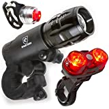 WASAGA LED Lights for Bikes - Free Helmet Light - Quick Release Mounts - Best Flashing Front and Back Tail Bike Light Set - Safest Super Bright Headlight Torch and Rear Cycling Kit for All Bicycles