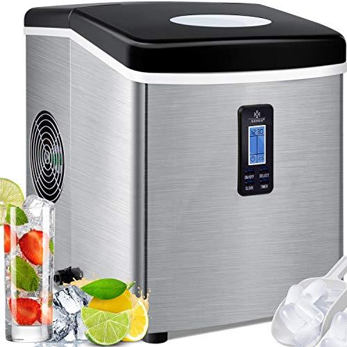 KESSER® Eiswürfelbereiter | Eiswürfelmaschine Edelstahl | 150W Ice Maker | 15 kg 24 h | 3 Würfelgrößen | Zubereitung in 6 min | 3,3 Liter Wassertank | Timer | LCD-Display | Silber