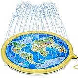 Splash Pad,175 cm Tapete de Agua Chapoteo Almohadilla Aspersor de Juego para Niños,Aire Libre Juguetes Inflables de Agua para Niños,Piscina para Niños