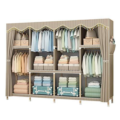 FTFTO Haushaltsprodukte Tragbarer Kleiderschrank Aufbewahrungsschrank Kleidung Kleiderschrank Gestreiftes Doppel-Canvas-Kombinationsgarderobe Faltbar zerlegen Geeignet für