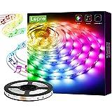 Lepro LED Strip 5M, LED Streifen Musik Lichterkette mit Fernbedienung, Band Lichter, RGB Dimmbar Lichtleiste Light, Lichtband Leiste, Bunt Kette Stripes für Party Weihnachten Deko