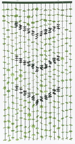 Tropical Flower Curtain Fabulush Fabric Flowers Beaded Bamboo Curtain - Green Leaves with Green Beads (Leaves and Beads, 1pc 3 ft x 6 ft)