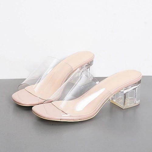 JJFBXB Sandales Style Transparent Femmes Chaussures D'été Sandales Talon Talon Talon Carré Boucle Sangle PVC Sandales Compenser Partie De Mariage Usure Pantoufle Chaussures 8e7
