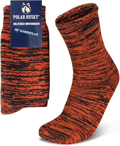 Polar Husky 3 Paar Sehr warme Socken mit Vollplüsch & Schafwolle/Nie wieder kalte Füße! Farbe Vollplüsch/Wolle/Orange Größe 43-46
