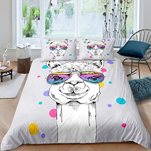 Alpaca - Juego de funda de edredón con diseño de llamas, diseño de animales de granja para niños y niñas con gafas de sol, estilo rústico, con 2 fundas de almohada, color gris
