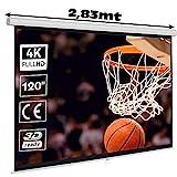 """Pantalla de proyeccion Manual Luxscreen 120"""" Pulgadas Formato 16:9 , área Visible Blanca 264 x 150cm , cajetin de 2,83 Metros"""