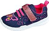 gibra® Freizeitschuhe Stoffschuhe Sneaker für Kinder, Art. 5747, mit Klettverschluss, dunkelblau/pink, Gr. 25