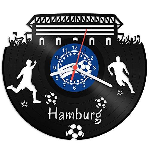 GRAVURZEILE Schallplattenuhr Hamburg - 100% Vereinsliebe - Upcycling Design Wanduhr aus Vinyl Made in Germany