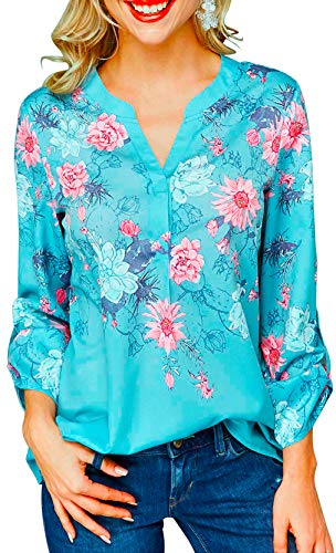 Shmily - Camiseta de manga larga para mujer con cuello en V, diseño de flores, retro Diseño de flores de...