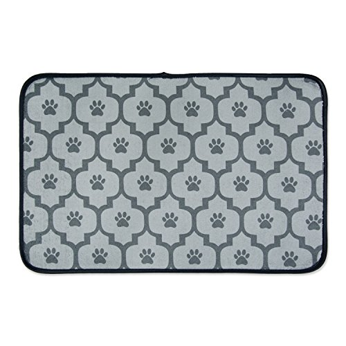 Bone Dry CAMZ36741 Large Microfiber Pet Mat, 14' x 24', Lattice Gray