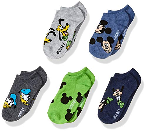 Disney boys Mickey Mouse 5 Pack No Show Socks, Assorted Tossed Heads Mickey and Friends, Fits Sock Size 6-8.5 Fits Shoe Size 7.5-3.5 US