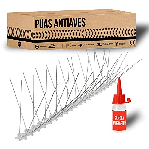 Kit Pinchos Antipalomas + Silicona, 3 Metros en Acero Inoxidable y policarbonato Ecológico | 100% Reciclable. Repelente para pajaros, ahuyentador de palomas y otras aves. Hecho en España. (3 Metros)