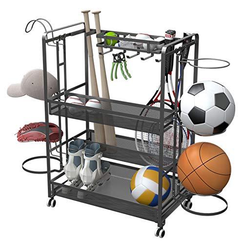 ERRU Estante de Pelota Sistema de Almacenamiento de Garaje Deportivo con Ruedas, Carros de Baloncesto de Acero con Cestas de Malla y 5 Ganchos, Portaequipajes de Fútbol - Gris