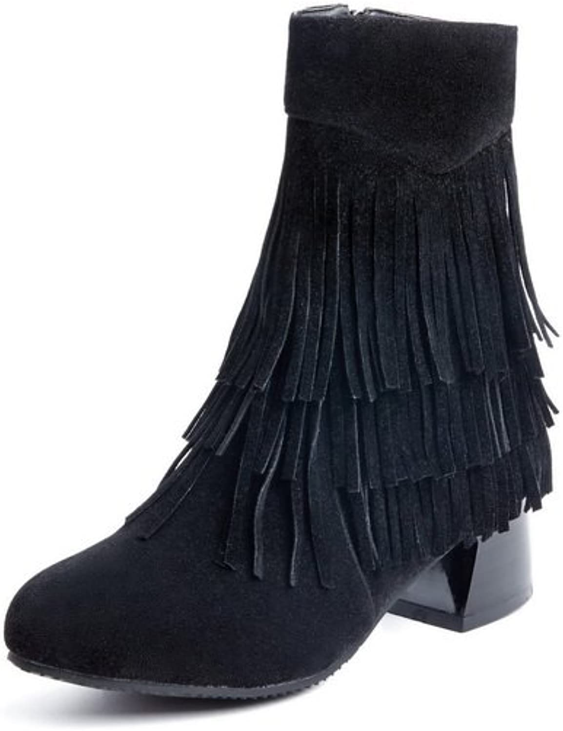 AdeeSu Girls Casual Tassels Outdoor Frosted Boots