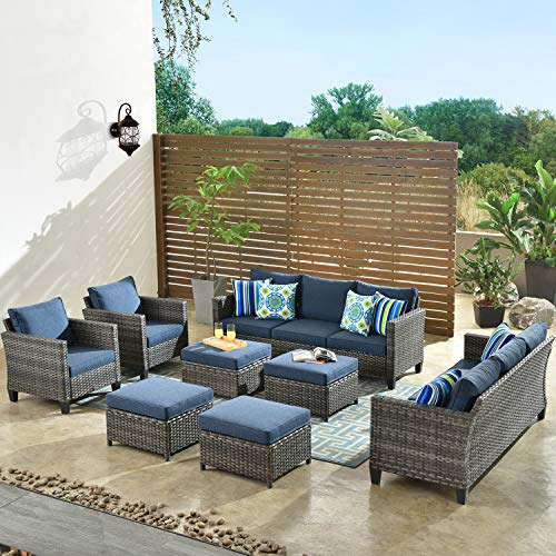ovios Patio Furniture 8 PCSHight Back Outdoor Furniture Sets Modern Wicker Patio Furniture Conversation Sets with 4 pillowes All Weather Garden Patio Sofa,Backyard,Steel (Grey-Denim Blue)