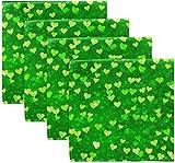 Set di 4 quadrifogli trifoglio irlandese cuore di colore per il giorno di San Patrizio su tovaglioli di stoffa verde tovaglioli in poliestere lavabile 20 'x 20' per tavolo da pranzo festa di matr