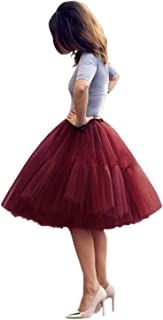 Babyonline Lady's Princess Tutu Tulle Midi Knee Length Skirt Underskirt