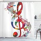 Cortina de Ducha Musical, Obra de Arte con Notas Musicales, canción de Ritmo Ornamental en Colores Vibrantes, Tema de fantasía, Tela de Tela, Juego de decoración de baño con Ganchos, Blanco Rojo