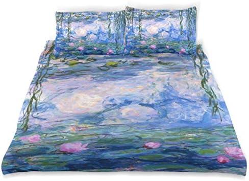 Vipsk Duvet Cover Set Claude Monet Water Lilies Painting Pattern 3 Piece Bed Set 100 Cotton product image