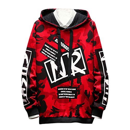 ZZBO Herren Hoodie Mode Kapuzenpullover Langarm Pullover mit Kapuze Hoody Sweatshirt Kapuzenshirt mit Camouflage Letter Druck und Zugband Casual Einfacher Stil M-XXXXL(Rot,Armeegrün)