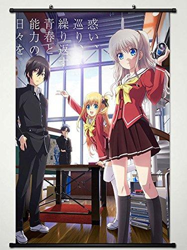 Wall Scroll Poster Fabric Painting For Anime Charlotte Yuu Otosaka & Tomori Nao & Yusa Nishimori 013 L