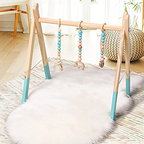 BABY JOY Portable Wooden Baby Gym, Foldable Baby Play Gym Frame with 3 Wooden Baby Teething Toys, Baby Exercise Activity Gym Hanging Bar Newborn Baby Gift (Green)