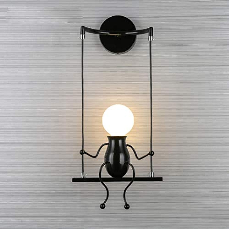 W&HH Moderne kreative Wandleuchte Puppe Schaukel Kinder Wandleuchte Charakteristische Nachtlampe Geeignet für Schlafzimmer Nacht, Kinderzimmer, Flur, Restaurant, Treppe,schwarz,1lights