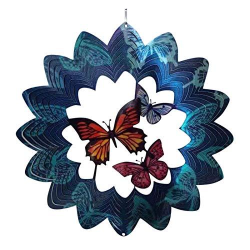 Decoración de Jardín al Aire Libre Spinner de Viento Ornamento Spinner Adorno Mariposa Molino de Viento Decoración 3D Carrillón de Metal - Adornos de Navidad para Decoración de Patio del Hogar (A)