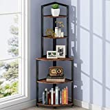 Tribesigns 5-Tier Corner Shelf, 60 Inch Corner Bookshelf Small Bookcase for Living Room, Industrial Corner Storage Rack Plant Stand with Metal Frame for Home Office (Rustic Brown)