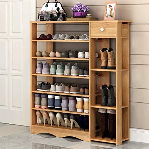ZXL Meubel schoenenrek, houten schoen Bank stapelbaar opslag met schuifladen schoenenkast rek hal kast organisator (grootte: 7 dieren)