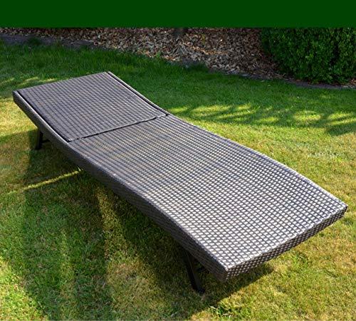 QMBasic XXL Lounge Sonnenliege Poly-Rattan Geflecht | Relaxliege groß braun Metallrahmen mit Rückenlehne verstellbar