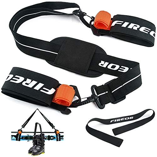 Ski Carrier Strap, Snowboard, Pole and Boot Carry Sling Strap Kit Adjustable Cushioned Shoulder Back Band for Family Men Women & Kids, Downhill Skiing Equipment Accessories (Durable Plastic)