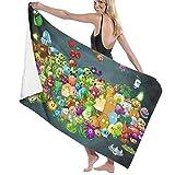 haoqianyanbaihuodian Pflanzen Zo-mbies Pool Strandtuch Mikrofaser Badetücher Schnelltrocknende Handtuchdecke für Reisen Schwimmbad Yoga Camping Gym Sport