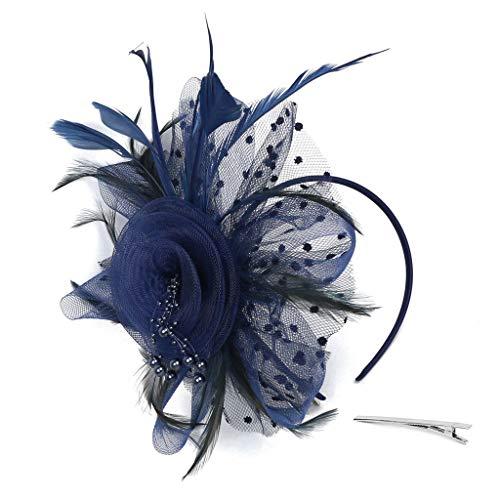 Lazzboy Flapper Great Gatsby Stirnband Pearl Party Braut Kopfschmuck Up Damen 1920s Pfau Feder 20er Jahre Stil Haarband Inspiriert Von Kostüm Accessoires(Blau)