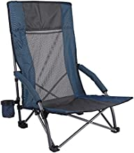 REDCAMP Folding Beach Chair for Adults Heavy Duty, Lightweight Portable Low Profile Concert Chairs with High Back Support, Comfortable for Outdoor Camping Backpacking Sports Events, Blue