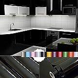 Liveinu Aufkleber Küchenschränke PVC Tapeten Küche Selbstklebend Klebefolie Möbel Wasserfest Aufkleber für Schrank Küchenschränke Möbel Selbstklebende Folie Küchenschrank Schwarz 0.6x8m