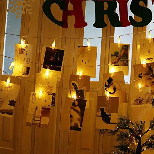 LED Fotoclips Lichterkette für Zimmer Deko, 6M 40LED Foto Lichterkette mit 40 Klammern Bilder Clips Lichterkette für Wohnzimmer, Weihnachten, Hochzeiten, Fotowand Dekoration