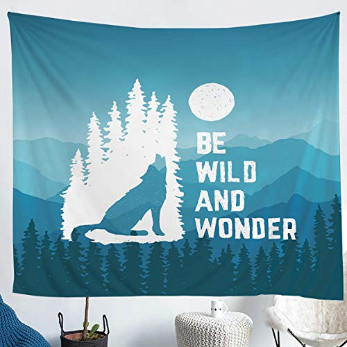 Erosebridal Wolf Tapestries Tie Dye Wall Hangings Moon Mountain Forest Marble Tapestry for Kids Boys Girls Roaring Wolf Wild Animal Throw Blanket Bedroom Decor Lightweight Large 59x82 Blue