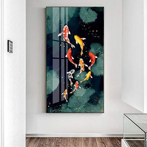 NLZNKZJ Goldene Fische Leinwandbilder an der Wand Kunst Poster und Drucke, Fische Leinwand Kunst Tiere Wandbilder Wohnkultur 60x120cm ohne Rahmen