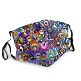 Kirby Mask with Filter Reuseable Washable Mouth Cover Bandana Dustproof Face Mask 3D Printed Decorations for Women Men Cycling Camping Travel Black