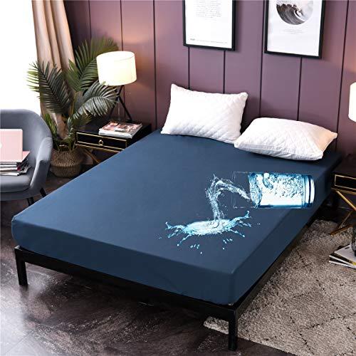 Holawakaka Queen Waterproof Mattress Encasement Protector Blue Fitted Sheet Breathable Bed Mattress Pad Cover, 14' Deep Pocket (Blue, Queen)