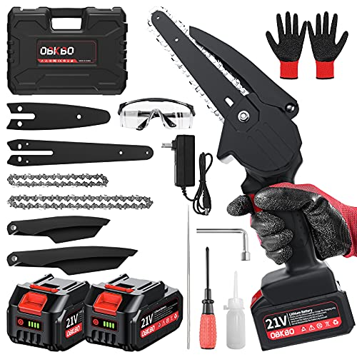 Mini Chainsaw Cordless, OBKBO Electric Chainsaw 6 Inch and 4 Inch Handheld Chain Saw Portable & Rechargeable with 2 Batteries 2 Chains Gardening Tools for Tree Branch Pruning Wood Cutting