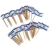100x Nationelle Flagge Sticks Stäbchen Zahnstocher Spieße Dekoration für Cocktail Obst Sandwich Cupcake usw. aus Papier & Holz - Israel