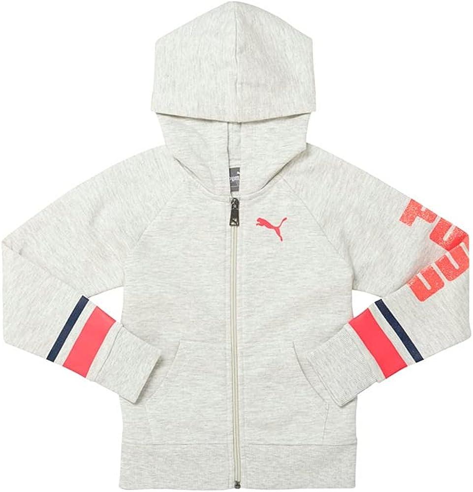 Puma Kids Girls Cotton Fleece Full Zip Raglan Hoodie Casual Full Zip Full Zip - Off White