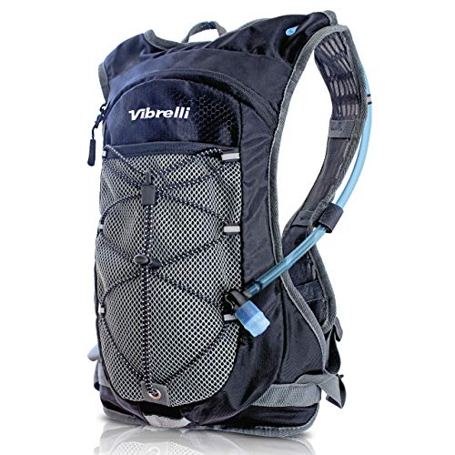Vibrelli Hydration Pack & 2L Hydration Water Bladder - High Flow Bite Valve - Hydration Backpack with Storage - Lightweight Running Backpack, Also for Cycling, Hiking, Ski, Snow for Men, Women & Kids