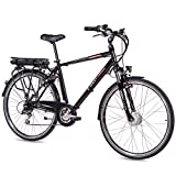 CHRISSON Bicicleta eléctrica de 28 pulgadas para trekking y ciudad, para hombre, E-Gent negro con 8 marchas Acera, Pedelec para hombre con motor delantero Ananda, 250 W, 36 V